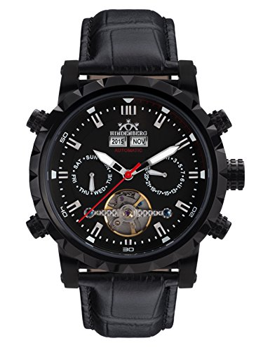 Hindenberg 370-H Expeditor PVD black mit Lederarmband Herren Automatik Armbanduhr