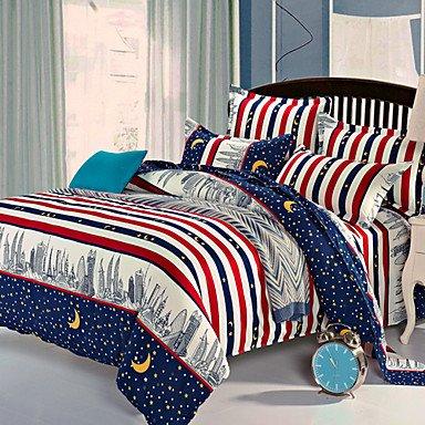 AIURLIFE Estrellas de lino cubierta del edredón sábanas la cama , full