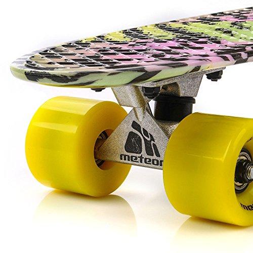 meteor® Minitabla de skateboard, monopatín en estilo retro, de plástico, de la mejor calidad, Resistente y ligera, ruedas grandes, buen regalo.