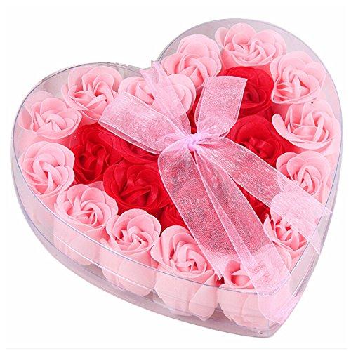 Ysimee 24 Stück Seifenblume, Kunst Blumen Kreative Geschenke Geburtstag Geschenke und Valentinstag Geschenk und Wohnkultur Büro Hotel Dekoration, Rosa (Künstliche Bulk Rose)
