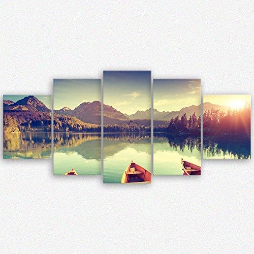 ge Bildet® hochwertiges Leinwandbild XXL - Tatra Nationalpark in der Slowakei - 150 x 70 cm mehrteilig (5 teilig)  Wanddeko Wandbild Wandbilder Wohnzimmer deko Bild  