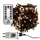 960 LED Lichterkette warmweiß aussen Kabel grün mit Timer Fernbedienung Progamme Dimmen