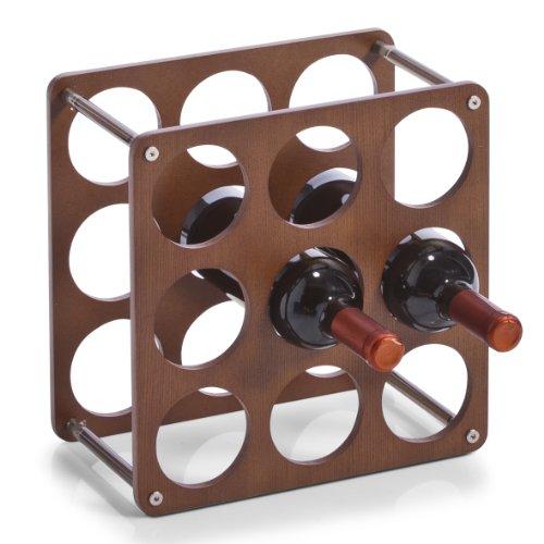 Zeller 13167 Weinregal für 9 Flaschen 0.7 Liter inklusive 4 Kunststoff-Verbindungsstücken, 30 x 30...
