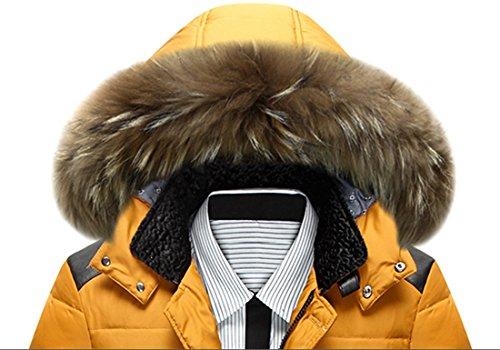 BININBOX® Herren Fashion Daunenmantel Daunenjacke Parka mit Fellkapuze Wintermantel Gelb