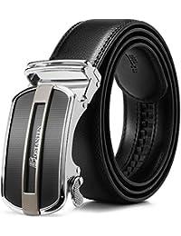 BOSTANTEN Prime Day Ledergürtel Herren/Junge Schnalle Büffel Leder Gürtel Automatik Jeans Belt Schwarz