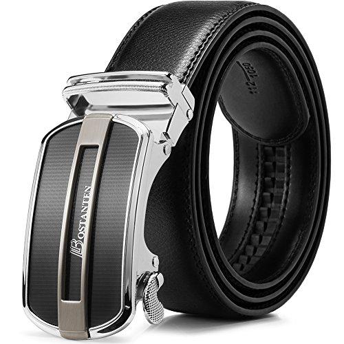 BOSTANTEN Ledergürtel Herren/Junge Schnalle Büffel Leder Gürtel Automatik Jeans Belt Schwarz -