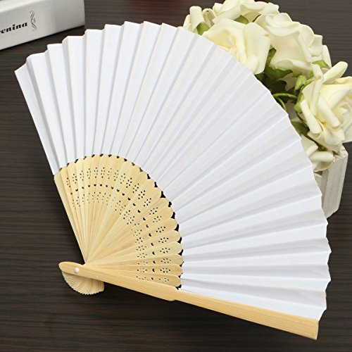 KING DO WAY 50 pcs Abanico Blanco Plegable de Mano Ventilador de Papel a...
