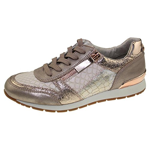 49d2e42e3cebf2 TOM TAILOR 4894105 Leichter Damen Sneaker Low-Top Halbschuh Glitzer  Metallic Gr.37-43 Rose-Gold EUR 43
