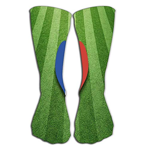 ouyjian Outdoor Sports Men Women High Socken Stocking France Flag Colored Heart Shape socccer Field Sunny Artificial Green Grass Colors Symbol Background Tile Length 19.7
