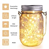 Herefun Solarlampen Außen | Solar Mason Jar Licht Wasserdichte, Lichterkette im Glas, 4M 40 LED leuchtet Perlen Glas Hängeleuchte String Laterne Dekoration für Weihnachten Hochzeit (Warmweiß)