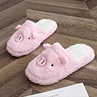 WARRT Cotton Slippers Winter Indoor Women Slippers Warm Slipper Flat Shoes Soft Home Slippers Woman Snowflake 36 Pig Pink