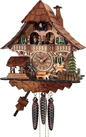 River City Clocks One Day Musical Black Forest Cuckoo Clock with Dancers, Waterwheel, and Girl On Rocking Horse, 13-Inch Tall