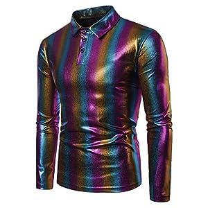 Luckycat Männer Herbst Winter Casual Multicolor Striple Langarm Slim T-Shirt Top Bluse Mode 2018