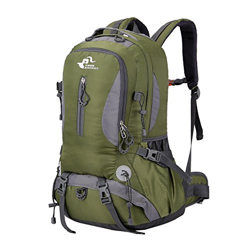 Asiki 40L Tear & Water Resistant Sports Camping Hiking Rucksack Mountaineering Backpack Travel Trekking Backpack (Amy Green)