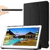 "YunTab 3G Tablet 10.1 Zoll/ACEPAD A101 (10.1"") TABLET PC Hülle Case, Infiland Ultra Dünn Tri-Fold Muschel PU Leder Schlank Superleicht Ständer Shell Cover Schutzhülle Etui Tasche für 10.1"" Android Tablet-PC Inklusive XIDO X111, 10 Zoll Tablet Pc(25,7 cm), Artizlee 10 Zoll (10.1"") Tablet PC ATL-21L 1280x800, XIDO Z120/3G Tablet Pc 10 Zoll(Überprüfen Sie bitte die Details der kompatibelen Tablet-Modell-Liste in Produktbeschreibung)(Schwarz)"