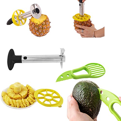 Ananas en acier inoxydable Argenté, trancheuse, économe, suppression des lames et d'Avocat trancheuse
