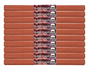 Idena 60018 papier crépon, 50 x 250 cm-lot de 10 rouleaux de papier crépon marron
