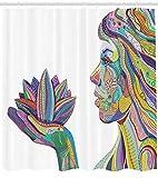 Abakuhaus Duschvorhang, Geistige Yoga Frau mit Lotus Flower Figur mit Ornamental Meisterliche Zen Linien Design, Wasser und Blickdicht aus Stoff mit 12 Ringen Schimmel Resistent, 175 X 200 cm