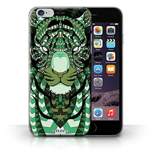 Hülle für iPhone 6+/Plus 5.5 / Wolf-Purpur / Aztec Tier Muster Kollektion Tiger-Grün