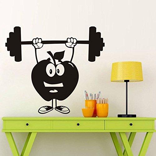 zzlfn3lv Lustige Apple hantel wandaufkleber Cartoon Gym wandtattoos abnehmbare Kunst wandaufkleber für Sport Jungen Zimmer Sport Decor 48 * 42 cm