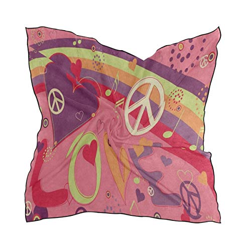 Love Peace Heart Hot Pink Music Note Women's Bandana Small Square Neck Scarf Silk Scarfs/Headband/Scarves Favor Fashion13