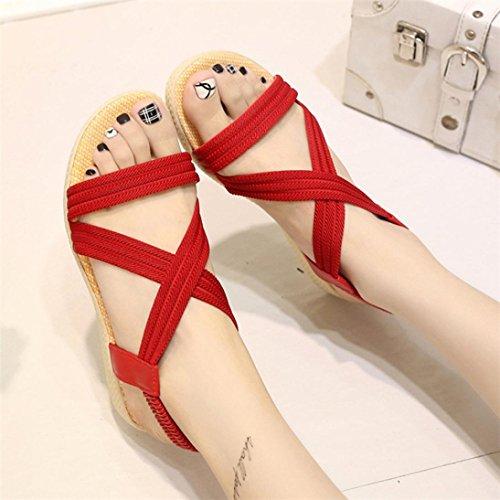 Scarpe della Boemia delle donne piatte Vovotrade Elasticità per il tempo libero Lady sandali peep-toe scarpe da esterno Rosso