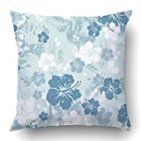 TEPEED Throw Pillow Covers Hawaiian Tropical Floral Distressed 8 Flower Surf Hibiscus Hawaii Beach Vintage Polynesia Polyester 18 X 18 inch Square Hidden Zipper Decorative Pillowcase
