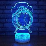 Despertador 3D Usb Lámpara Led 7 Cambio de color Ilusión Visual 3D Luz de noche para niños Amigo Regalo No es Real Reloj