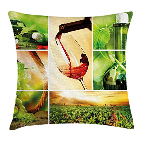 Yinorz Wine Throw Pillow Cushion Cover, Wine Tasting and Grapevine Collage Green Fresh Field Pouring Drink Delicious, Decorative Square Accent Pillow Case, 18 X 18 inches, Green Ruby Caramel - Ruby Grapevine