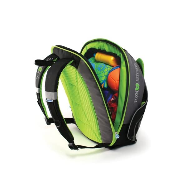 Trunki BoostApak - Travel Backpack & Child Car Booster Seat for Group 2-3 (Green)  QUICKLY TRANSFORMS – Kid's bag to portable booster cushion in seconds (featuring internal hard shell and fold out seatbelt guides) AVOID HIRE CHARGES - On fly drive holidays! Can also be used as dining, cinema or stadium booster to see the action HAND LUGGAGE - 8-litre capacity for packing toys/games/stationary keeping children entertained on the go 13