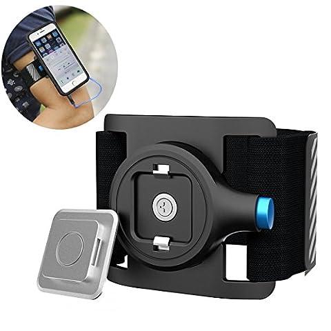 Brassard de sport, SGODDE avec Magnetic ventouse Brassard de sport étui pour téléphone portable universel Compatible avec iPhone, Samsung, HTC, etc.