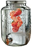 #10: Dispenser imported glassware beer, juice, water mason jar beverage 5 liter, 1 piece with golden tap and Golden Stand By HomeCart