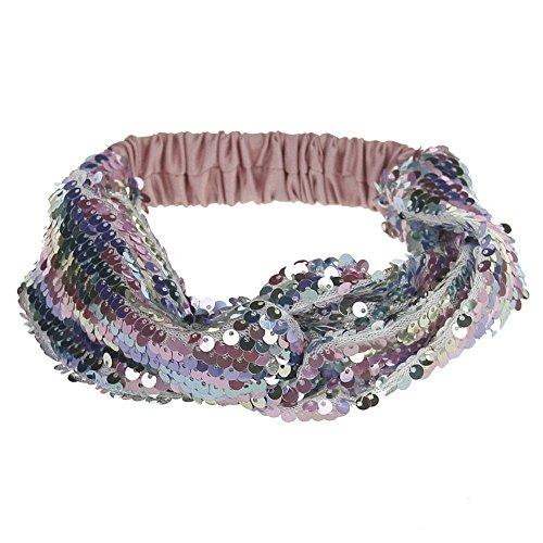 Neu Flexibilität Haarband Zweifarbige Pailletten Damen Stirnband, LEEDY Mädchen Niedlich Süß Weich Scheint Headband Wild Haarreif Gebundenes Kopfband...