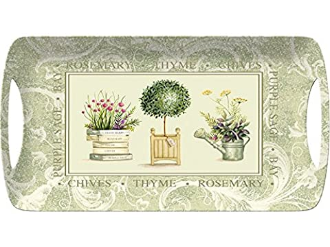 Creative Tops Topiary Luxury Handled Melamine Serving Tray, Plastic, Green, Small