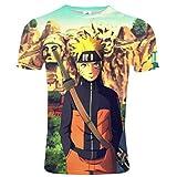 CCTXUE Tshirt Maglietta Unisex 3D Stampa Graphic Girocollo Corta Manica Corta Comodo Asciugatura Traspirante Sport Maglia Loom Semplice Tees Naruto XXL