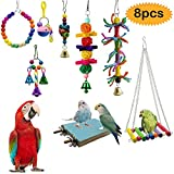 bluesees Bird Toys, Parrot Toys 8pcs Play Set for Birds, Hanging Colorful Swing Chewing Toy Bells, Ladder Swing for Small Parrots, Macaws, Parakeets, Conures, Cockatiels, Love Birds
