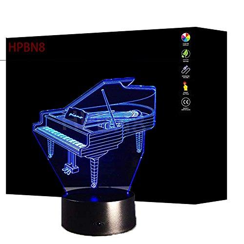 HPBN8 3D Klavier Lampe USB Power 7 Farben Amazing Optical Illusion 3D wachsen LED Lampe Formen Kinder Schlafzimmer Nacht Licht【7 bis 15 Tage in Deutschland angekommen】