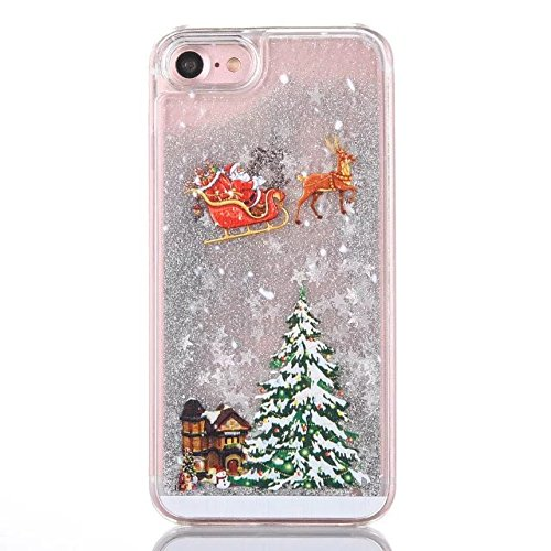 iPhone 5 Hülle Flüssig, iPhone SE Liquid Case, iPhone 5S PC Hart Hardcase Handyhülle, 5S Bling Glitter Glitzer Handy Hülle Etui Protective Case PC mit Fließend Liquid Flüssig Shinny Quicksand Tasche S Silber