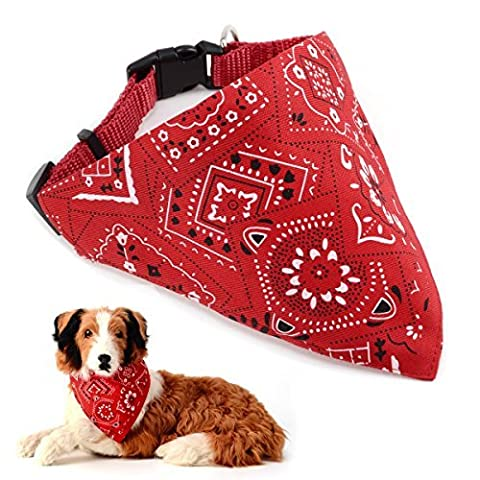 Beitsy Adjustable Strap Bandana for Dogs, Medium, Red