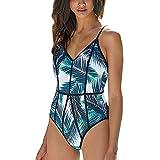 VECDY Damen Bikini Set Einteiliger Badeanzug Push-Up Gepolsterter Badeanzug mit Print Badebekleidung Oberteil Badehose + BH S-XL
