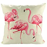 Luxbon Flamingos Gruppe Kissenbezug Wurfkissenbezug Platz Akzente Setzen Pillowcase Haus Sofa Zimmer Cafe Auto Deko 18 x 18 '' 45 x 45 cm