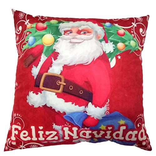 Charberry Père Noël Taie d'oreiller Canapé Taille Throw Housse de coussin, Tissu super doux, a, Size: 45cm*45cm