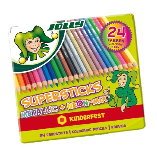 Jolly Buntstifte Supersticks Kinderfest Metallic Mix, im Metalletui, mehrfarbig (24 Stück)