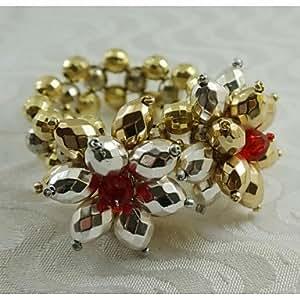 X7 oro argento anello perle di cristallo fiore tovagliolo, acrilico, 1.77inch, set di 12