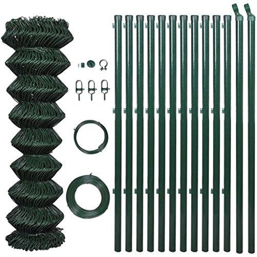 Zora Walter 1,25 x 15 m Clôture Grillage vert avec poteaux & tous les accessoires clôture jardin barrières extérieures clôture métallique accessoires clôture Kit Clôture extérieur