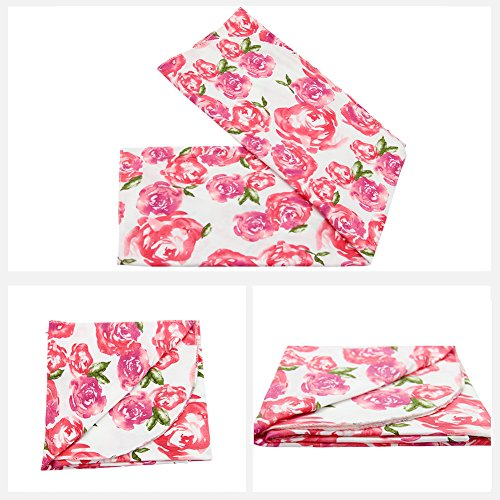 Play Tailor Neugeborenen Baby Swaddle Decke Wrap Floral Receiving Decken mit Stirnband Set
