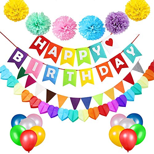 tstag Party Dekoration Banner Girlande mit 6 Pom Poms Papierblume, 15 Luftballons ,1 Regenbogenfarben Flaggen, 1 Rainbow Paper Garland, Junge Mädchen Geburtstag Party Dekoration ()