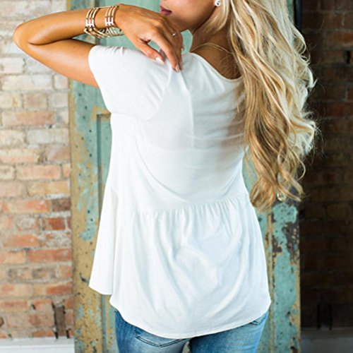 AmazingDays Femme Chemisiers T-Shirts Tops Sweats Blouses Basic Solid Row Plis Ruché O-Neck Manches Courtes Top T-Shirt Chemisier white