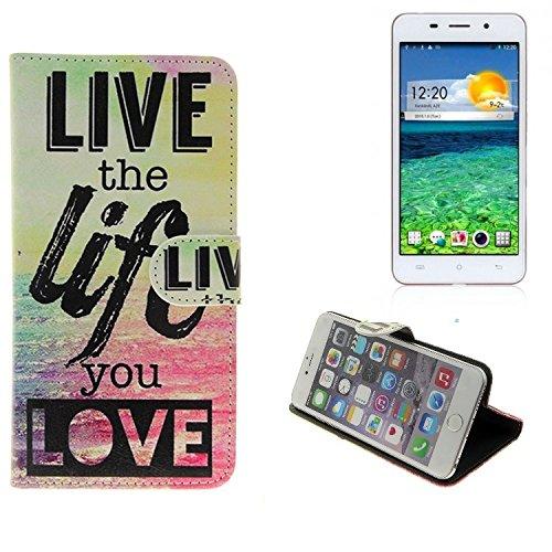 K-S-Trade® Für -Cubot X9- Schutz Hülle 360° Wallet Case ''live Life Love'' Schutzhülle Handy Tasche Handyhülle Etui Smartphone Flip Cover Standfunktion (1x)