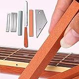 Famed Guitar Tools Kit , Gitarren-Fret Crowning Gitarrenbauer-Feile Edelstahl-Fret-Rocker-Griffbrett Schützt Und Schleifstein